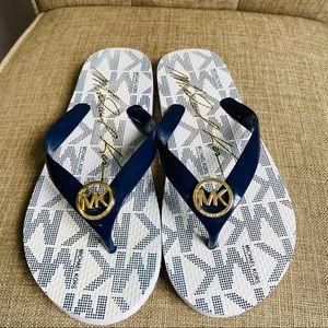 Michael Kors blue flip flops